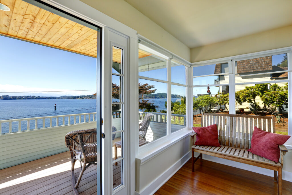 Sun room and walkout deck.
